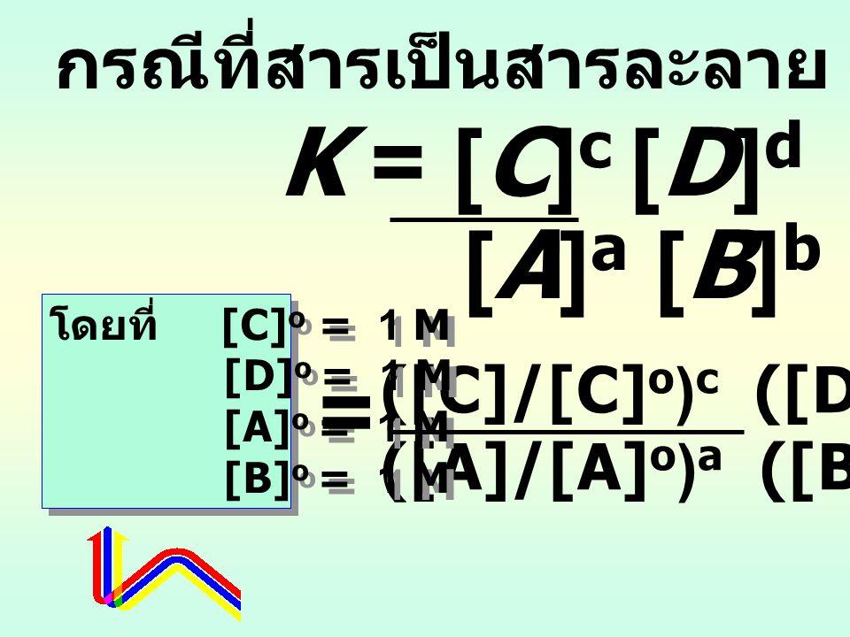 K = [C]c [D]d [A]a [B]b = กรณีที่สารเป็นสารละลาย